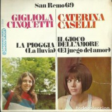 Discos de vinilo: GIGLIOLA CINQUETTI / CATERINA CASELLI. SINGLE. SELLO DISCOPHON. EDITADO EN ESPAÑA. AÑO 1969. Lote 133899214