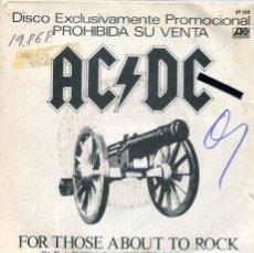 Discos de vinilo: AC/DC / PARA TODA LA GENTE DEL ROCK / C.O.D. (SINGLE PROMO 1981). Lote 133965050