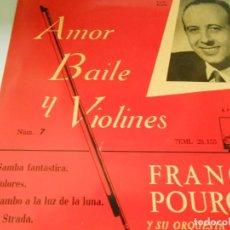 Discos de vinilo: FRANCK POURCEL Y SU ORQUESTA DE CUERDA, EP, SAMBA FANTASTICA + 3, AÑO 1958. Lote 133990302