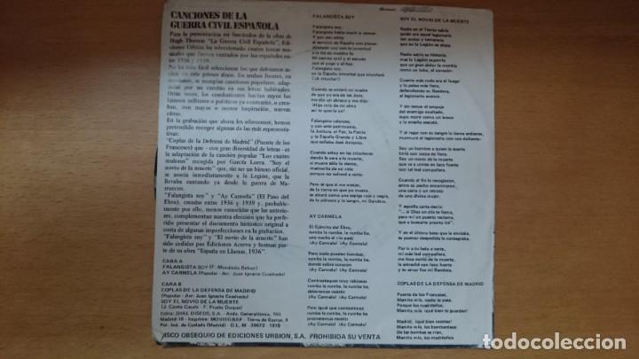 Discos de vinilo: DISCO VINILO CANCIONES GUERRA CIVIL - Foto 2 - 134011922
