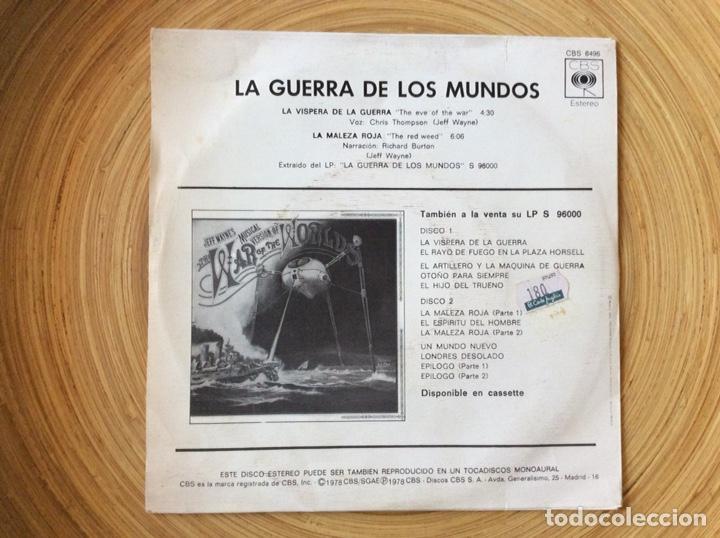 Discos de vinilo: LA GUERRA DE LOS MUNDOS SINGLE BANDA SONORA EDIC ESPAÑA 1978 - Foto 2 - 134083042