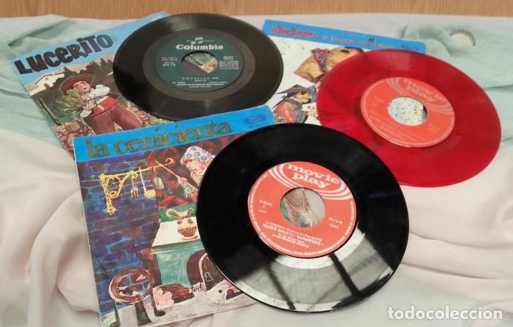Discos de vinilo: Discos Singles de cuentos infantiles. Colección de 3 discos. Años 60-70 - Foto 2 - 134171490