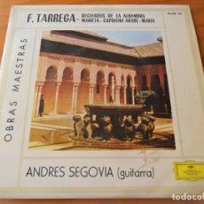 Discos de vinilo: ANDRES SEGOVIA, GUITARRA ESPAÑOLA CLASICA- F. TARREGA OBRAS MAESTRAS - EP 1962-. Lote 134200598