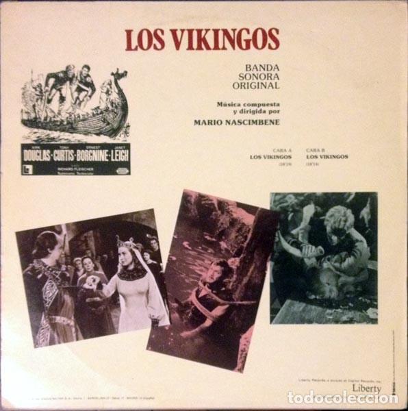 Discos de vinilo: Mario Nascimbene ?– Los Vikingos (The Vikings) (Banda Sonora Original De La Película) [España,1982] - Foto 3 - 134224962