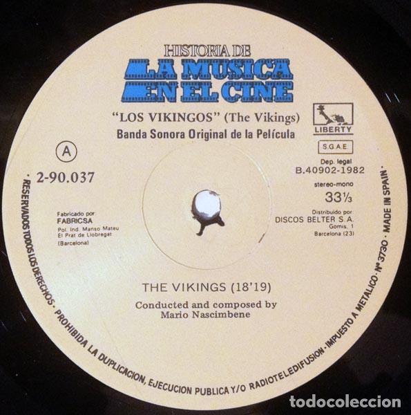 Discos de vinilo: Mario Nascimbene ?– Los Vikingos (The Vikings) (Banda Sonora Original De La Película) [España,1982] - Foto 4 - 134224962