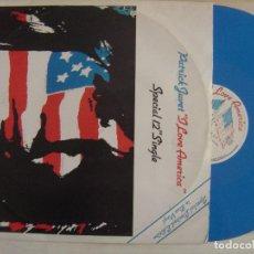 Discos de vinilo: PATRICK JUVET - I LOVE AMERICA / WHERE - MAXI SINGLE INGLES EDICION LIMITADA EN VINO AZUL 1978 . Lote 134299630