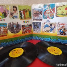 Discos de vinilo: ANTIGUO DISCO DE VINILO LP DOBLE DISCOLANDIA 25 EXITOS PARCHIS LA BATALLA LOS MUNDOS PITUFOS REGALIZ. Lote 134330090