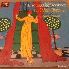 Discos de vinilo: ELISABETH SCHWARZKOPF ?– DIE LUSTIGE WITWE. EMI. 2 LPS. CARPETA ABIERTA.. Lote 134343814