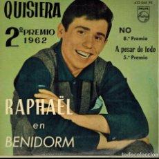 Discos de vinilo: FESTIVAL DE BENIDORM 1962, RAPHAEL. TEMAS: QUISIERA & NO & APESAR DE TODO & PERDONA, OTELO. Lote 134540542