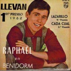 Discos de vinilo: FESTIVAL DE BENIDORM 1962. RAPHAEL. TEMAS: LLEVAN & LAZARILLO & CADA CUAL & INMENSIDAD. Lote 134540842