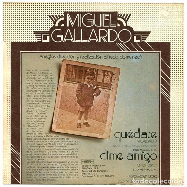 Discos de vinilo: Miguel Gallardo ?– Quédate (España, 1974) - Foto 2 - 134711942