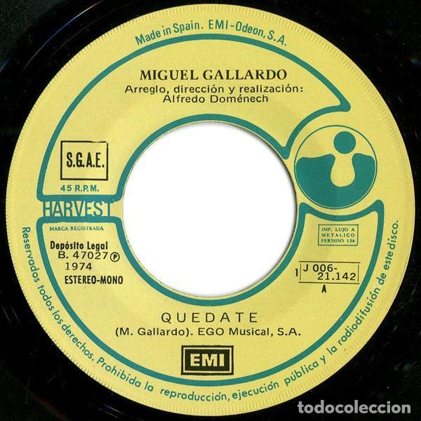 Discos de vinilo: Miguel Gallardo ?– Quédate (España, 1974) - Foto 3 - 134711942