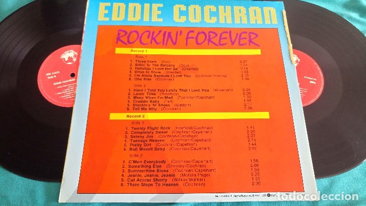 EDDIE COCHRAN - ROCKIN FOREVER - 2 LP - EDITADO EN ESPAÑA  1987  WORLD MUSIC