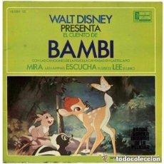 Discos de vinilo: WALT DISNEY – BAMBI -. SINGLE HISPAVOX 1967. Lote 134845954
