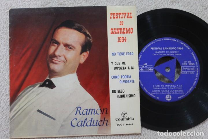 RAMON CALDUCH FESTIVAL DE SANREMO 1964 EP VINYL MADE IN SPAIN 1964 (Música - Discos de Vinilo - EPs - Solistas Españoles de los 50 y 60)
