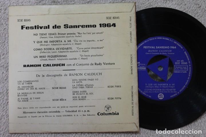 Discos de vinilo: RAMON CALDUCH FESTIVAL DE SANREMO 1964 EP VINYL MADE IN SPAIN 1964 - Foto 2 - 134886266