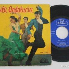 Discos de vinilo: BAILA ANDALUCIA SEVILLANAS DE LA MACARENA FARRUCA LOS CHUNGOS EP VINYL MADE IN SPAIN 1961. Lote 134887378