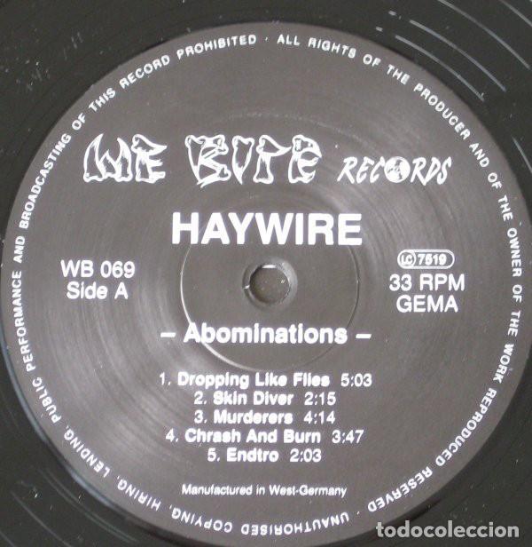 Discos de vinilo: Haywire – Abominations- LP VINYL 1990 GERMANY - HARDCORE METAL - Foto 3 - 134892354