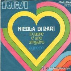 Discos de vinilo: NICOLA DI BARI - IL CUORE É UNO ZINGARO - AGNESE - 'SAN REMO FESTIVAL '71- SINGLE ITALY. Lote 134956762