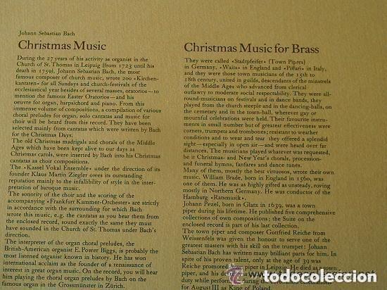 Discos de vinilo: JOHANN SEBASTIAN BACH, CHRISTMAS MUSIC, LP VINILO - Foto 2 - 134960170