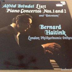 Discos de vinilo: LISZT. ALFRED BRENDEL. LONDON PHILHARMONIC ORCHESTRA, PIANO CONCERTOS NOS. 1 & 2 AND TOTENTANZ.. Lote 134998150