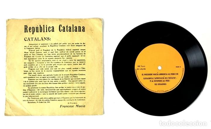 Discos de vinilo: DISCO VINILO. REPÚBLICA CATALANA. FRANCESC MACIÀ. FRANCIA. 1931. - Foto 2 - 135101998