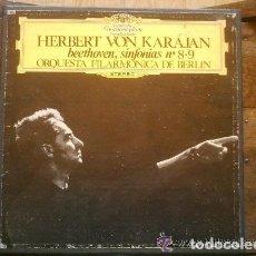 Discos de vinilo: SINFONIAS 8 - 9 BEETHOVEN ALBUM 2 DISCOS KARAJAN. Lote 135137402