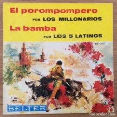 Discos de vinilo: LOS MILLONARIOS LOS 5 LATINOS SINGLE 1966 BELTER. Lote 135188670