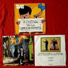Discos de vinilo: FESTIVAL DE LA CANCION INFANTIL (LOTE 3 SINGLES) FESTIVAL DE TVE 1970 -FANTASMAS A GOGO - LA RUEDA. Lote 135350382