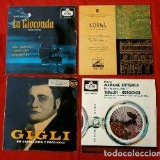 Discos de vinilo: OPERA (4 EPS. AÑOS 50) GIGLI, MARIA CALLAS, TEBALDI, BERGONZI, DEL MONACO -NORMA, LA GIOCONDA. Lote 135356322