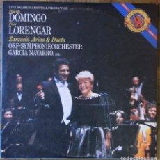 Discos de vinilo: PLÁCIDO DOMINGO, PILAR LORENGAR. ZARZUELA ARIAS & DUETS. CBS 1100877, COSTA RICA 1985. NM, NM.. Lote 135410690