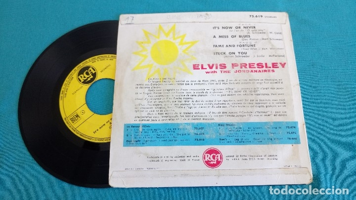 Discos de vinilo: ELVIS PRESLEY - - ITS NOW OR NEVER (O SOLE MIO)+3 - - EP - EDITADO EN FRANCIA 1960. RCA - Foto 3 - 135421274