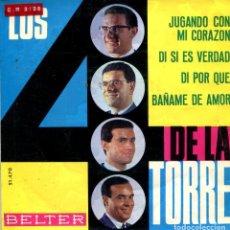 Discos de vinilo: LOS 4 DE LA TORRE / JUGANDO CON MI CORAZON + 3 (EP 1964). Lote 135477158