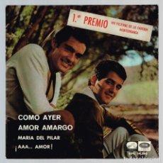 Discos de vinilo: DUO DINAMICO. 1ER PREMIO VIII FESTIVAL DE LA CANCION MEDITERRANEA EPL 14.295 ODEON 1966. Lote 135511258