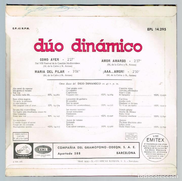 Discos de vinilo: Duo Dinamico. 1er Premio VIII Festival de la Cancion Mediterranea EPL 14.295 Odeon 1966 - Foto 2 - 135511258