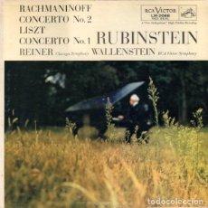 Discos de vinilo: RACHMANINOFF / LISZT - RUBINSTEIN - REINER, CHICAGO SYMPHONY / WALLENSTEIN, RCA (US, 1957). Lote 135540358