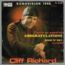 Discos de vinilo: CLIFF RICHARD. CANTA EN ESPAÑOL. CONGRATULATIONS PL 63.198 ODEON 1968. Lote 135556062