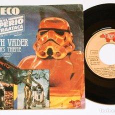 Discos de vinilo: SINGLE: MECO - EMPIRE STRIKES BACK (MEDLEY) DARTH VADER / YODA'S THEME + THE FORCE THEME - STAR WARS. Lote 135602282