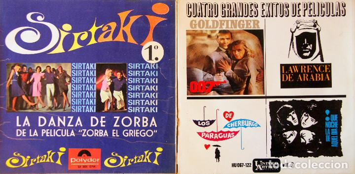 H3 BANDA SONORA ZORBA/THEODORAKIS+BEATLES+GOLDFINGER+LAWRENCE+CHERBURGO-POLYDOR/UNITED ARTIST 1960'S (Música - Discos - Singles Vinilo - Bandas Sonoras y Actores)