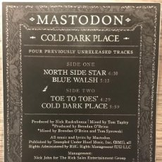 Discos de vinilo: MASTODON - COLD DARK PLACE - 10 SINGLE PICTURE DISC- AÑO 2017. Lote 261535915