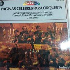 Discos de vinilo: DISCO VINILO.PAGINAS CELEBRES PARA ORQUESTA.CONCIERTO DE VARSOVIA,. Lote 135771966