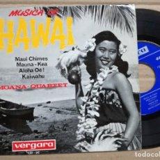 Discos de vinilo: MOANA - QUARTET : MUSICA DE HAWAI : MAUI CHIMES; MAUNA KEA; ALOHA OE; KAIWAHU. 1964. . Lote 135781822