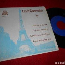 Discos de vinilo: LOS 5 CINCO CAMINANTES LLAMA AL AMOR/TWIST MAGNETOFON/ANOCHE SOÑABA +1 EP 1964 LUYTOM . Lote 135906174