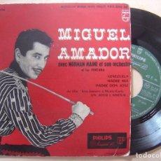 Discos de vinilo: MIGUEL AMADOR AVEC NORMAN MAINE ORCHESTRE VENEZUELA - EP FRANCES 1957 - PHILIPS. Lote 135906838