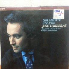 Discos de vinilo: LP: SOLAMENTE UNA VEZ - JOSE CARRERAS. Lote 135943250