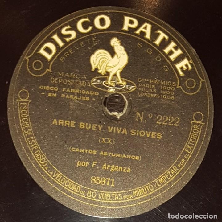 DISCOS 78 RPM - F. ARGANZA - PATHÉ 10 1/2 PULGADAS - ASTURIAS - ARRE BUEY, VIVA SIOVES - PIZARRA (Música - Discos - Singles Vinilo - Flamenco, Canción española y Cuplé)