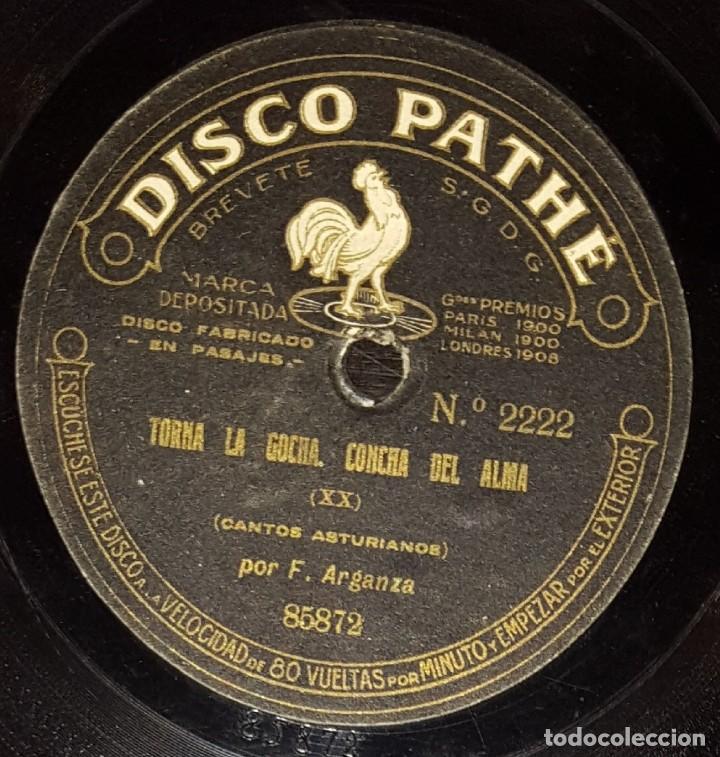 Discos de vinilo: DISCOS 78 RPM - F. ARGANZA - PATHÉ 10 1/2 PULGADAS - ASTURIAS - ARRE BUEY, VIVA SIOVES - PIZARRA - Foto 2 - 136008710