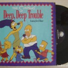 Discos de vinilo: THE SIMPSONS - DEEP, DEEP TROUBLE - MAXI-SINGLE 45 - ALEMAN 1991 - GEFFEN RECORDS. Lote 136035110