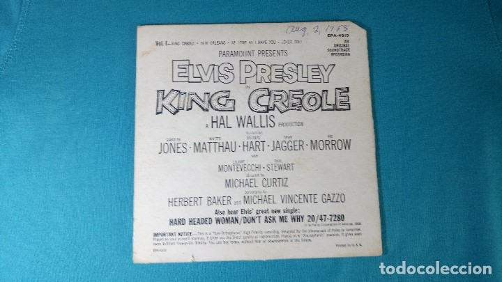Discos de vinilo: ELVIS PRESLEY - - KING CREOLE - - EP - EDITADO EN USA, 1958. RCA VICTOR - Foto 2 - 135861105