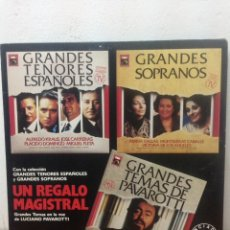 Discos de vinilo: GRANDES TENORES ESPAÑOLES. GRANDES SOPRANOS. GRANDES TEMAS DE PAVAROTTI. 1989. Lote 136074700
